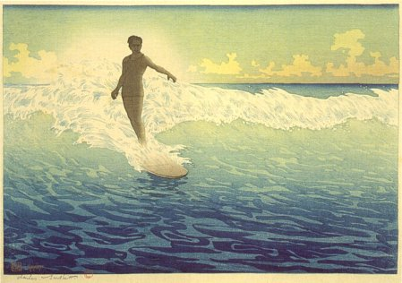 'Hawaii,_The_Surf_Rider',_woodblock_print_by_Charles_W._Bartlett,_1921