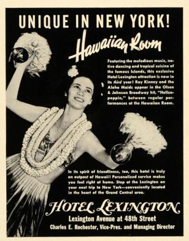 Hawaiian Room-Hotel Lexington-Ad