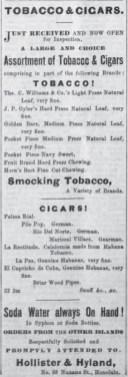 Hollister & Hyland-Hawaiian Gazette, August 25, 1869