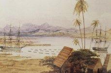 Honolulu Harbor-Ships pulled by canoes-Henry Walker-1843