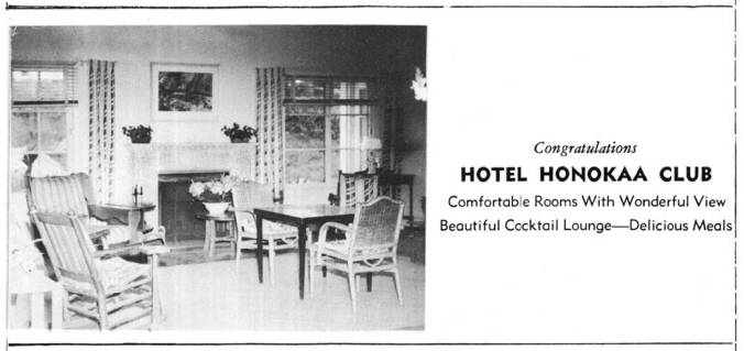 Hotel-Honokaa-Club-1950 Honokaa High School yearbook advertisement