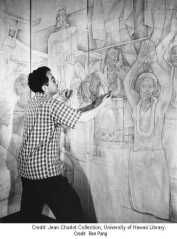 Impressing the cartoon unto the wall-Charlot Collection-UH Library