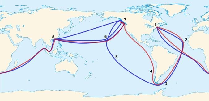 Ingraham Voyage-1Boston 2Cape Vert Islands 3Falkland 4Juan Fernandez 5Marquesas 6Hawaii 7Queen Charlotte-Vancouver 8Macau