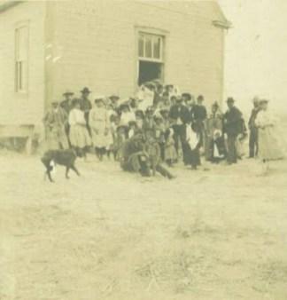 Iosepa School, Imilani Square, John Mahoe and son Solomon in front