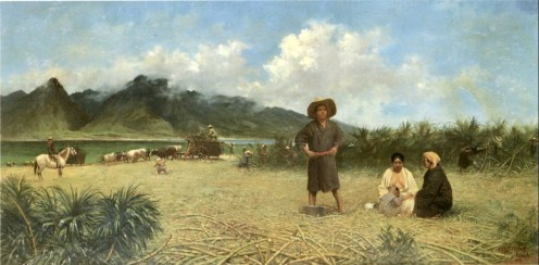 'Japanese_Laborers_on_Spreckelsville_Plantation',_oil_on_canvas_painting_by_Joseph_Dwight_Strong,_1885