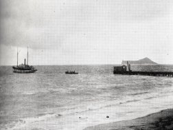 John Adams Kuakini Cummins' 80-foot steamer 'Waimanalo' anchored off the Waimanalo Sugar Company's pier