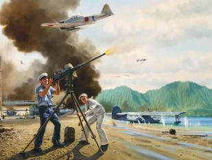 John Finn defending Naval Air Station Kaneohe Bay on Dec. 7, 1941, entitled 'The Warriors of Kaneohe'