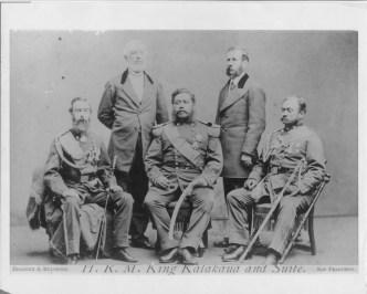 John O. Dominis, King Kalakaua and John M. Kapena; Henry A Peirce and Luther W. Severance, in SFO-PP-96-13-03-1874