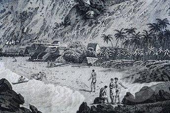 John Webber art, Kealakekua Bay and Hawaiian people-1779