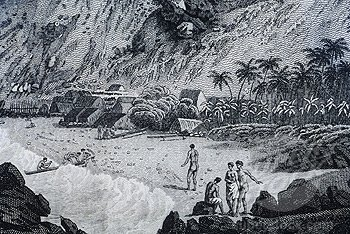 John Webber art, Kealakekua Bay and Hawaiian people-1779