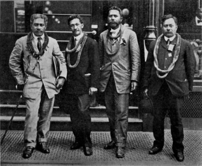 Judge Archibald Scott Mahaulu, Rev Moses Kuaea Nakuina, CE Peter N. Kahokuoluna and Judge William Werner-1909