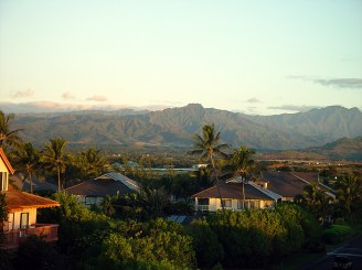 Kahili Peak mountain ranges in the fore front and Waialeale in the distance-birdofparadise
