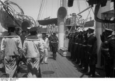 Kaiser Wilhelm II inspecting the officers of the German cruiser SMS Geier