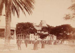 Kalakaua & Kapiolani - Iolani Palace with Col. Charles Hastings Judd (Chamberlain), and Antoinette F. Manini Swan (Chambermaid)-WC