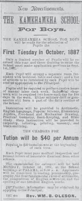 Kamehameha Schools Advertisement-HawnGazette-May 31, 1887