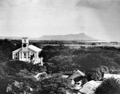 Kawaiahao Church in 1885-Look towards Diamond Head