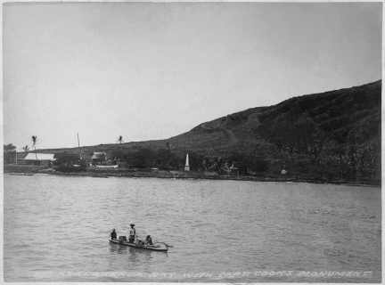 Kealakekua Bay with Captain Cook's monument-(HHS-6057)