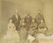 (L_to_R)-Laura Cleghorn, Princess Liliʻuokalani, Princess Likelike & Keawepoʻoʻole. (L_to_R) Thomas Cleghorn, John O Dominis & Archibald S Cleghorn