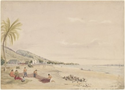 Lahaina,_West_Maui,_Sandwich_Islands2,_watercolor_and_pencil,_by_James_Gay_Sawkins-1855