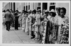 Lei sellers at the waterfront, Honolulu Harbor-(HSA)-PP-33-9-002