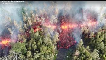 Leilani Estate fissure-eruption on roadway
