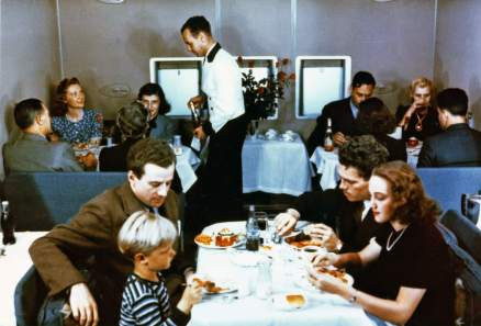 Lounge on Pan Am's Boeing 314 transformed into a dining room at mealtime-Smithsonian