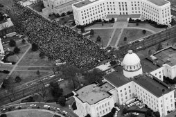 Martin Luther King, Jr., addressing the marchers at the Alabama State Capitol in Montgomery-(NPS)