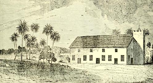 Meeting-House at Lahaina, On Maui. The First Stone Church in Hawaii. Corner Stone laid in 1828-(1845)