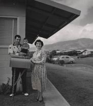 """Mr. and Mrs. Gilbert Amaral and Son, """"'Dream City,' Maui, 1958"""