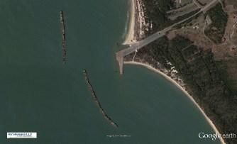 Nine-Concrete Fuel Barges as Breakwater-Kiptopeke, Virginia