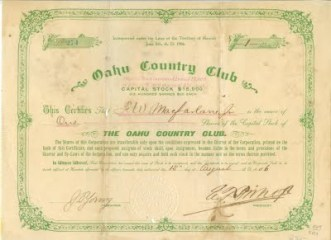Oahu Country Club Stock Certificate