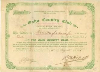 Oahu Country Club Stock Certificate