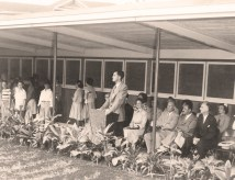 Opening ceremony for the Winne Units, held in April of 1950 with then-Junior School Principal Donald Reber-Punahou