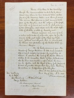 Order of King Kamehameha III to Wyllie-English-Feb_6,_1854