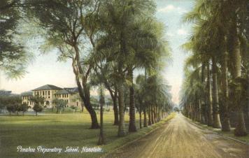 Palm_Drive-Punahou_Preparatory_School,_Honolulu-(WC)-(1909)