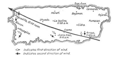 Path of Hurricane San Ciriaco over the island of Puerto Rico-LOC