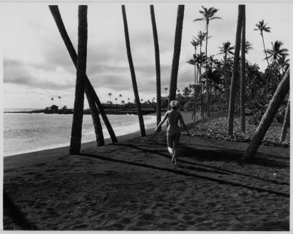 Pauline Wessel on Kaimu Black Sand beach, Kalapana-PP-29-10-023-1935