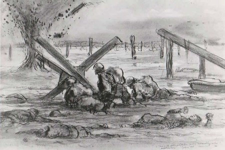 Pencil drawing displaying NCDU men at Omaha Beach, Normandy, France on D-Day, June 6th, 1944