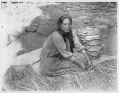 Pila`a Kilani weaving a lauhala mat, Pukoo, Molokai-PP-33-6-023-1913
