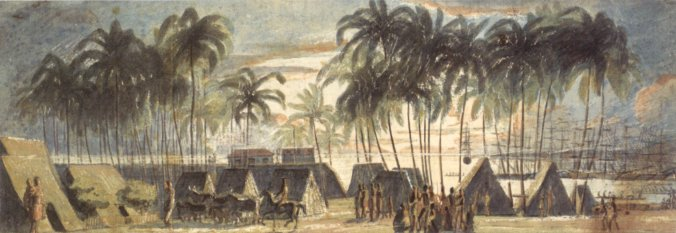 'Port_of_Honolulu',_watercolor_and_graphite_on_paper_by_Louis_Choris-1816