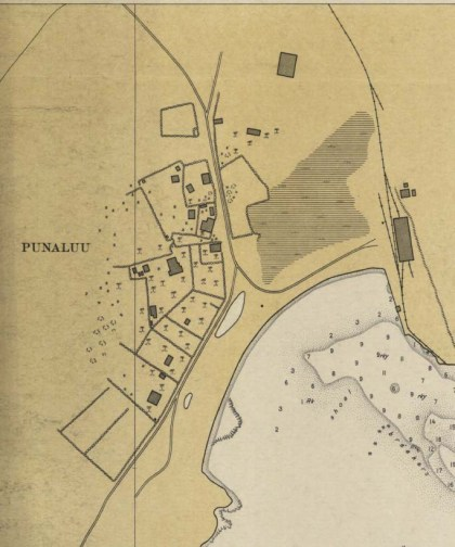Portion of 1931 Coastal Chart showing closeup of Punalu'u Town-CS