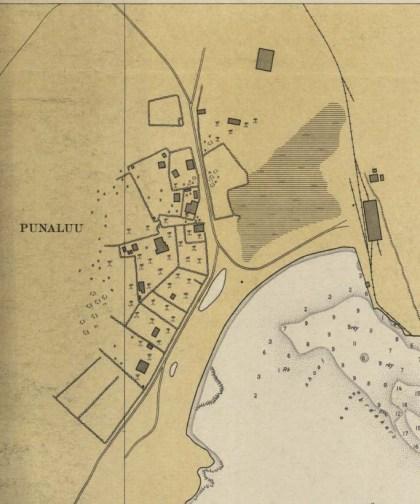 Portion of 1931 Coastal Chart showing closeup of Punalu'u Town-CS