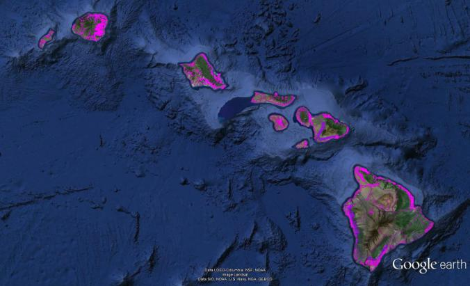 Pre-contact Footprint-Hawaiian Islands-GoogleEarth-OHA-TNC