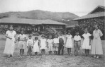 Principal Carlotta Stewart Lai and students at Hanamaulu School, Kauai-1933