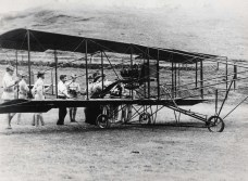 JC Bud Mars' biplane on his history making flight was an entirely new machine which had never been in the air before. It was christened Skylark after its maiden flight.