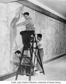 Putting up the cartoon-Charlot Collection-UH Library