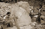 Sawing paving stones from sand stone taken from the yacht harbor (©Doris Duke Charitable Foundation. All rights reserved) -1937