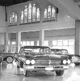 Schuman Carriage Company in old church building. advertiser library photo 1/4/1960