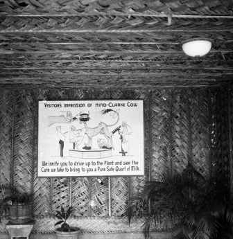 Sign posted within the garage of the Hind-Clarke_Dairy Ice Cream Stand, Aina Haina Valley-(gsu-edu)-1930s