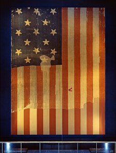 Star Spangled Banner Flag that inspired the lyrics of the US national anthem when it flew above Fort McHenry in 1814-(WC)